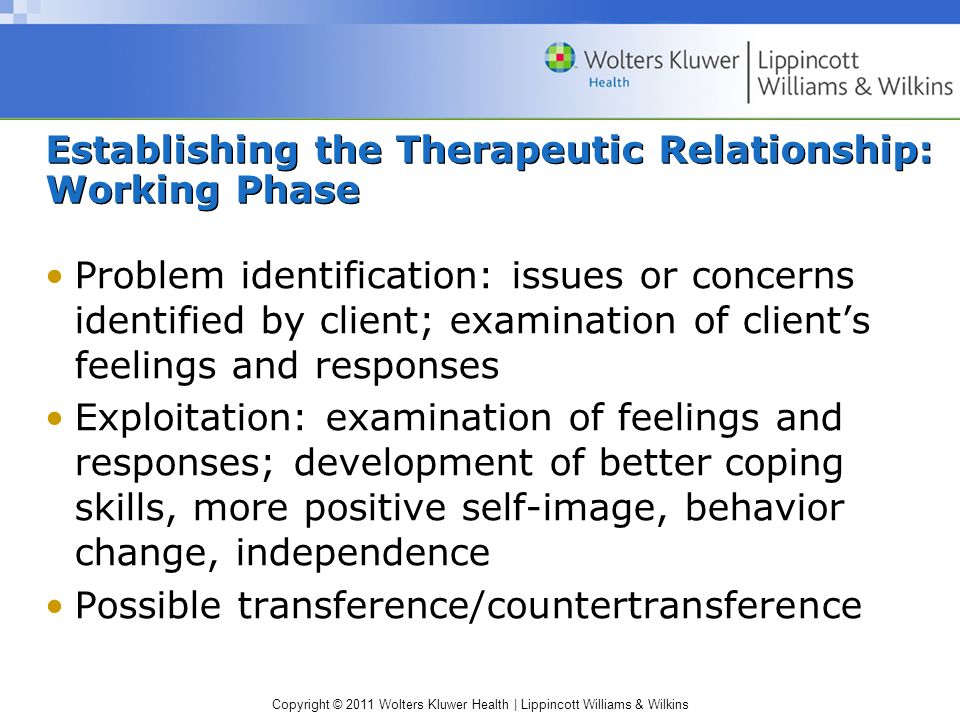 Establishing the Therapeutic Relationship: Working Phase
