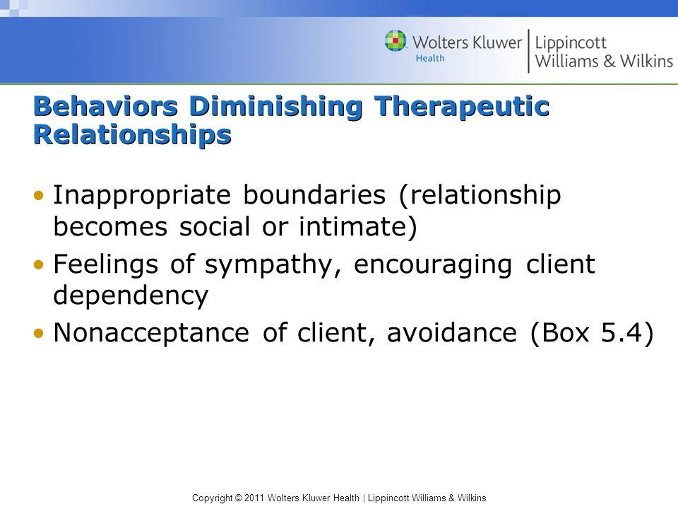 Behaviors Diminishing Therapeutic Relationships