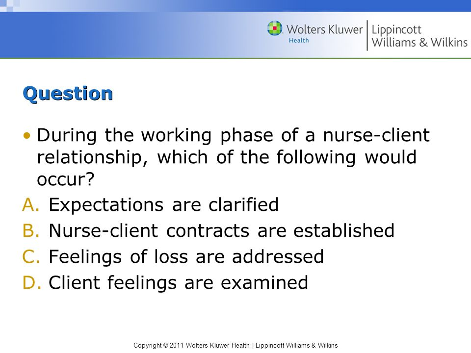 Question During the working phase of a nurse-client relationship, which of the following would occur