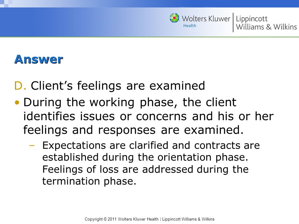 Client's feelings are examined