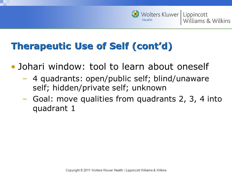 Therapeutic Use of Self (cont'd)