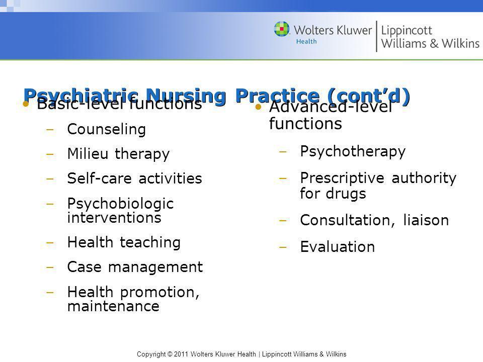 Psychiatric Nursing Practice (cont'd)