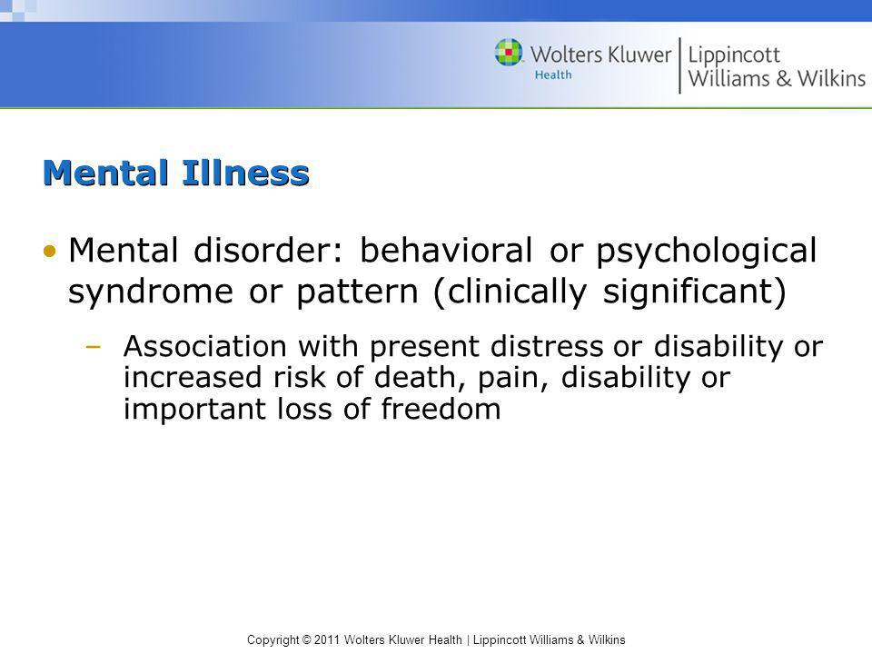 Mental Illness Mental disorder: behavioral or psychological syndrome or pattern (clinically significant)