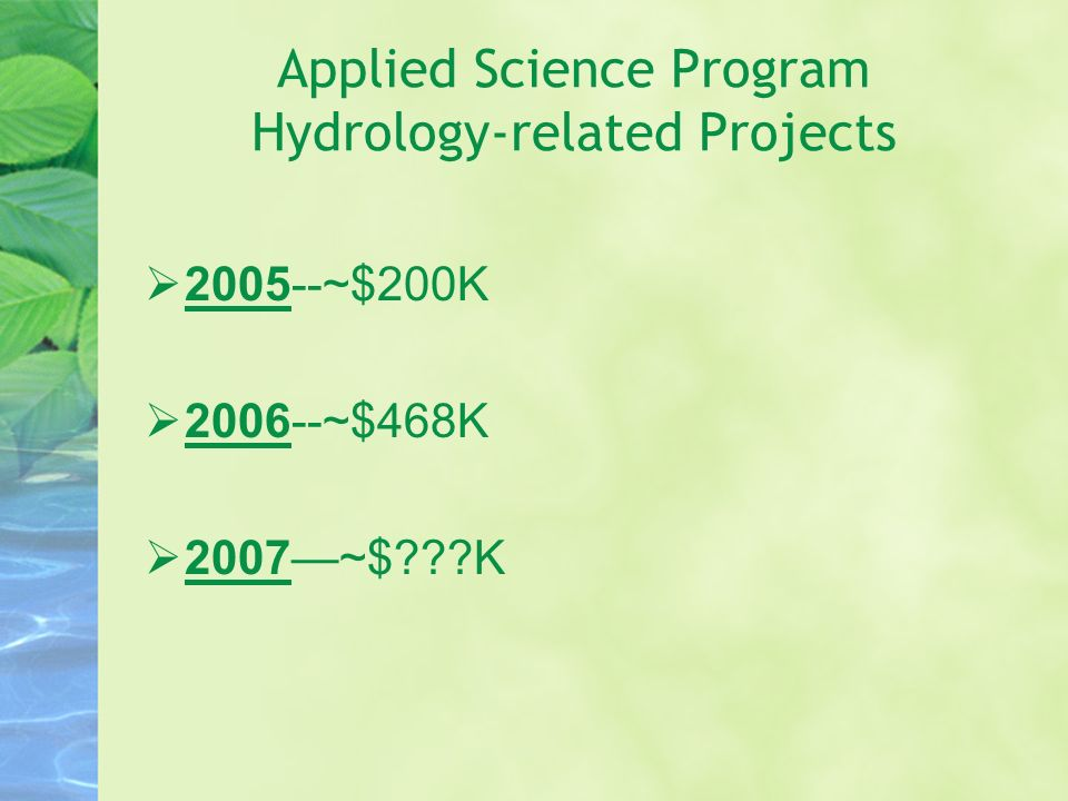 Applied Science Program Hydrology-related Projects