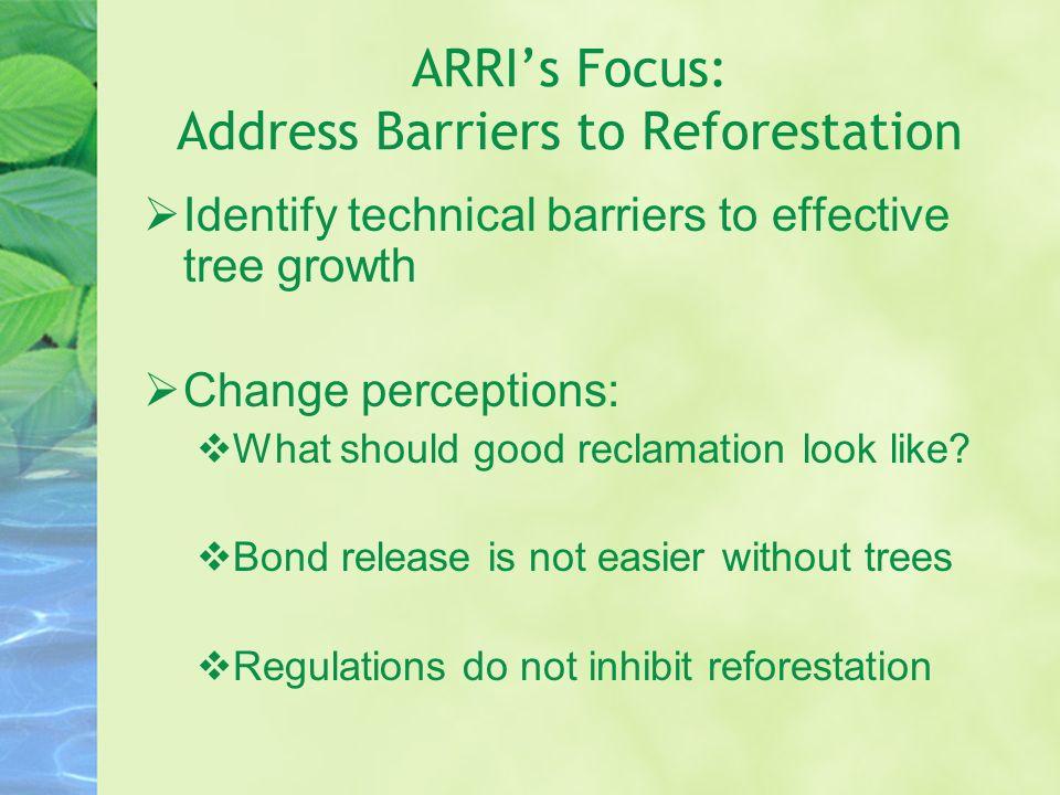 ARRI's Focus: Address Barriers to Reforestation