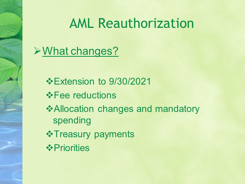 AML Reauthorization What changes Extension to 9/30/2021