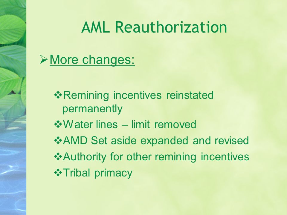 AML Reauthorization More changes: