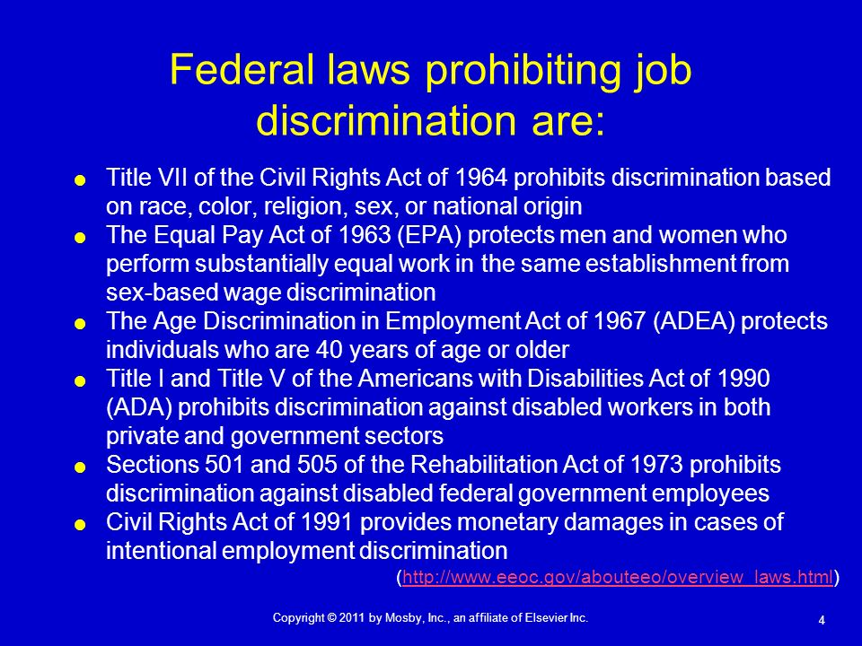 Federal laws prohibiting job discrimination are:
