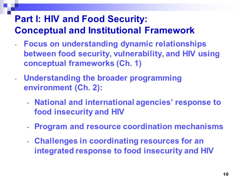 Part I: HIV and Food Security: Conceptual and Institutional Framework