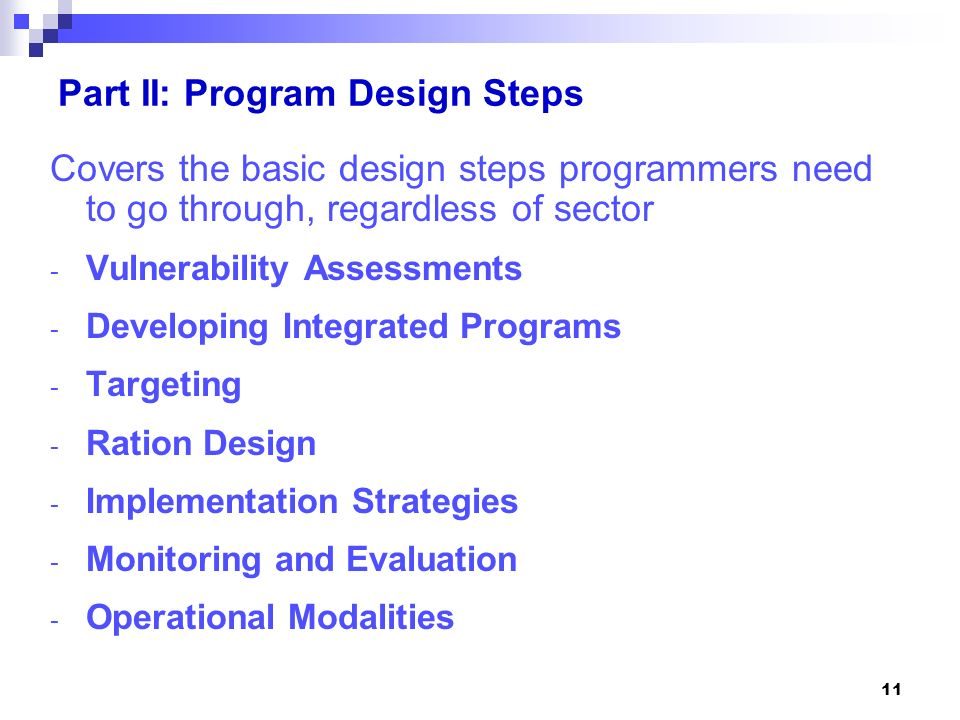 Part II: Program Design Steps