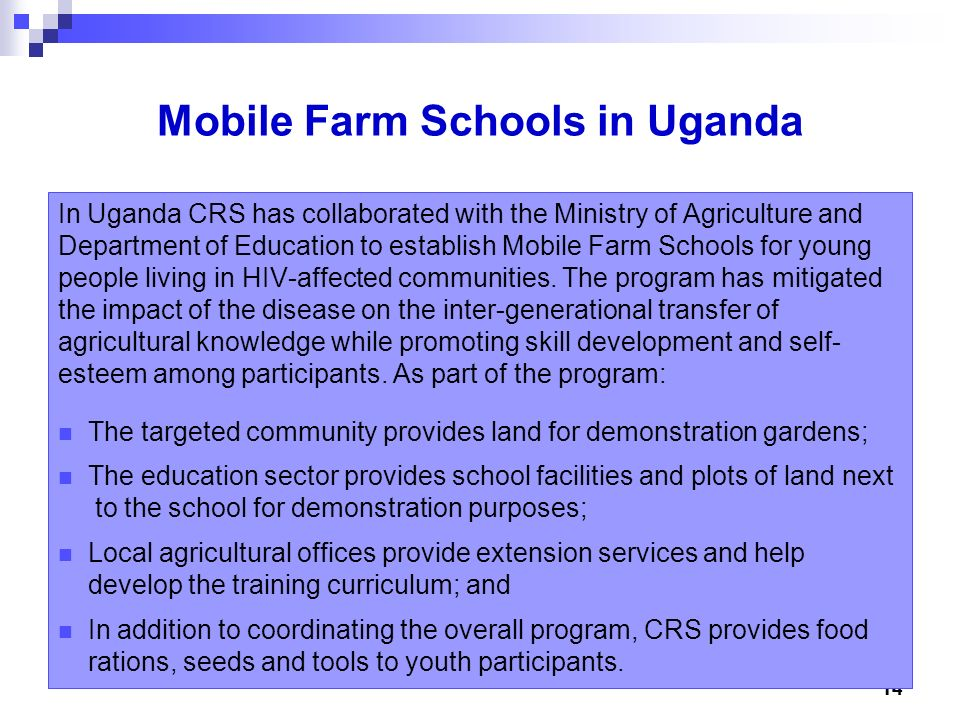 Mobile Farm Schools in Uganda