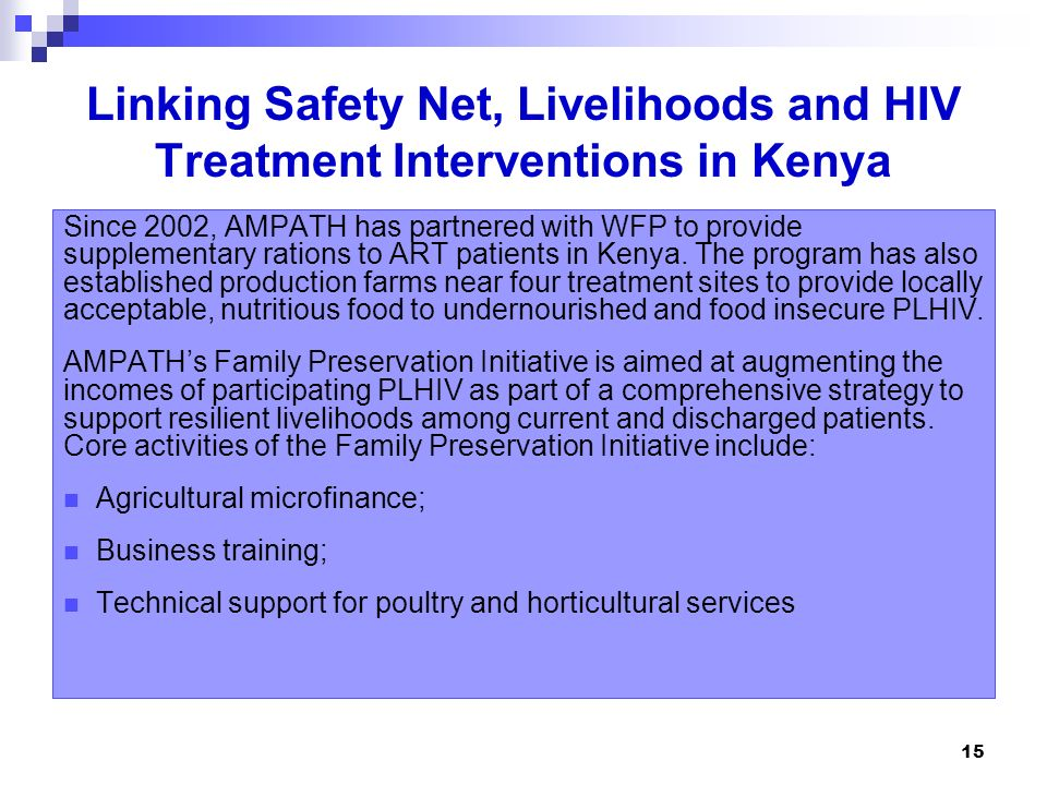 Linking Safety Net, Livelihoods and HIV Treatment Interventions in Kenya