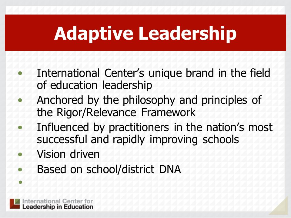 Adaptive Leadership International Center's unique brand in the field of education leadership.