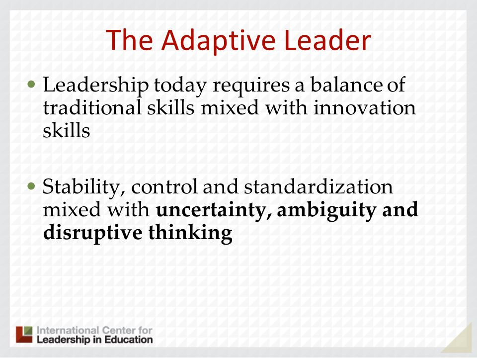 The Adaptive Leader Leadership today requires a balance of traditional skills mixed with innovation skills.