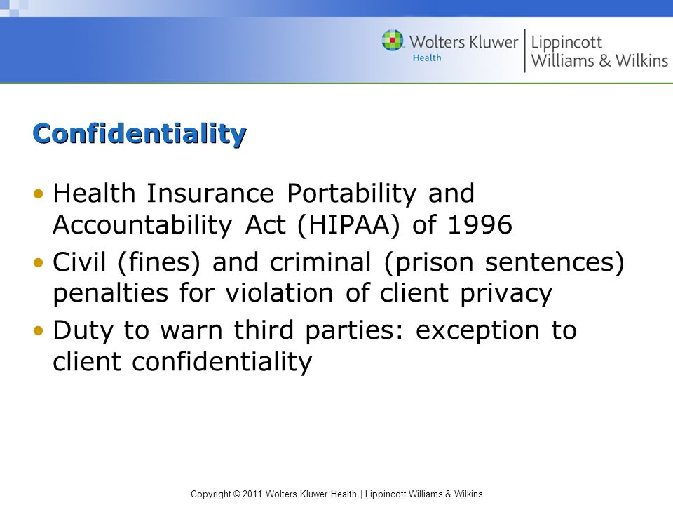 Confidentiality Health Insurance Portability and Accountability Act (HIPAA) of 1996.