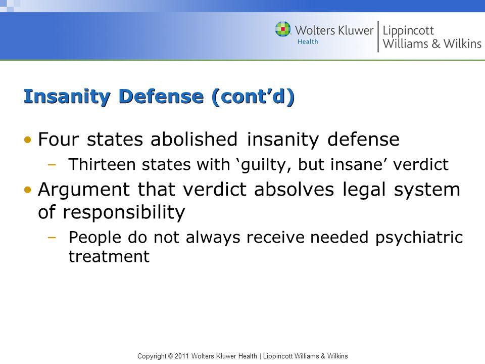 Insanity Defense (cont'd)
