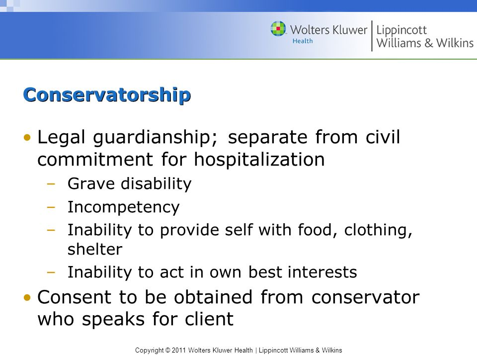 Legal guardianship; separate from civil commitment for hospitalization