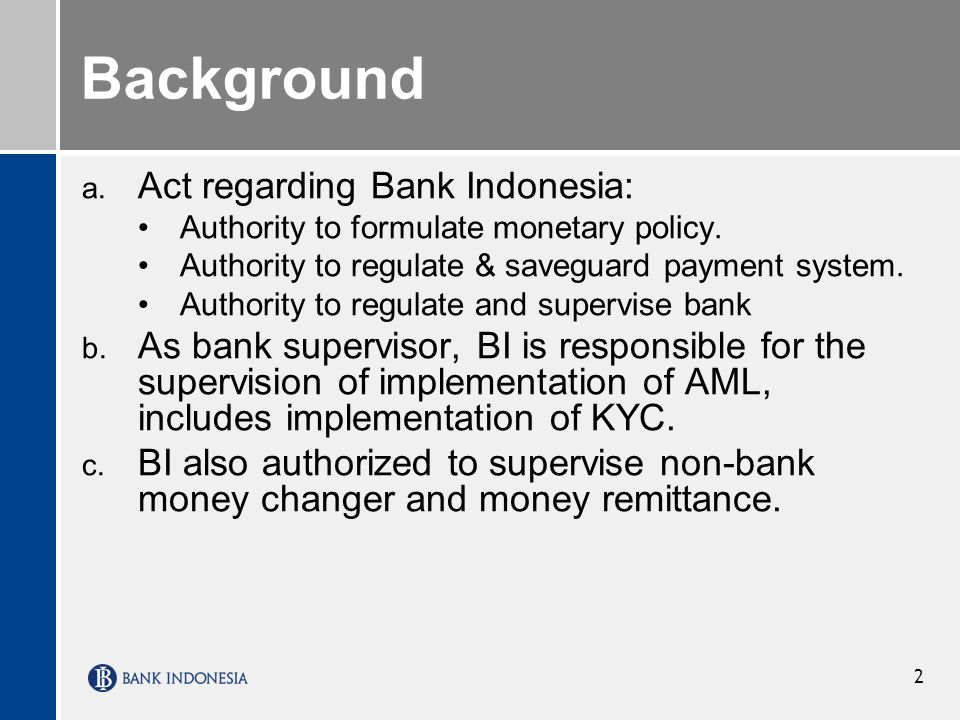 Background Act regarding Bank Indonesia: