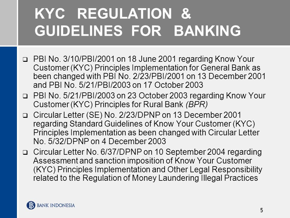 KYC REGULATION & GUIDELINES FOR BANKING