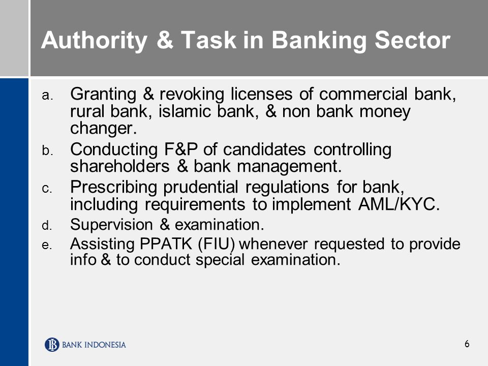 Authority & Task in Banking Sector