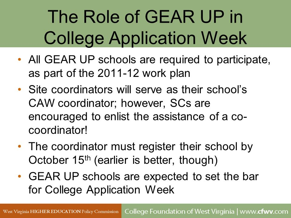 The Role of GEAR UP in College Application Week