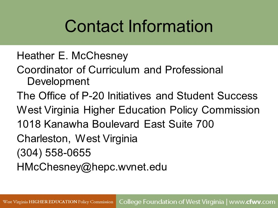 Contact InformationHeather E. McChesney. Coordinator of Curriculum and Professional Development. The Office of P-20 Initiatives and Student Success.