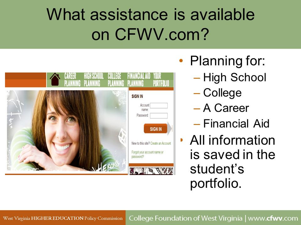 What assistance is available on CFWV.com