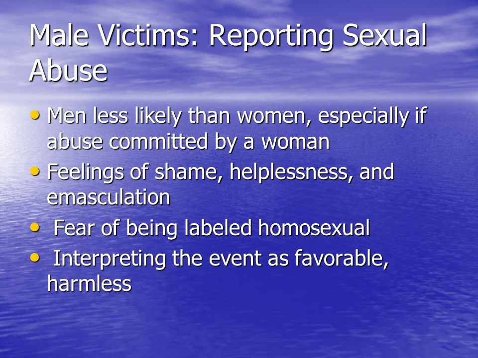 Male Victims: Reporting Sexual Abuse