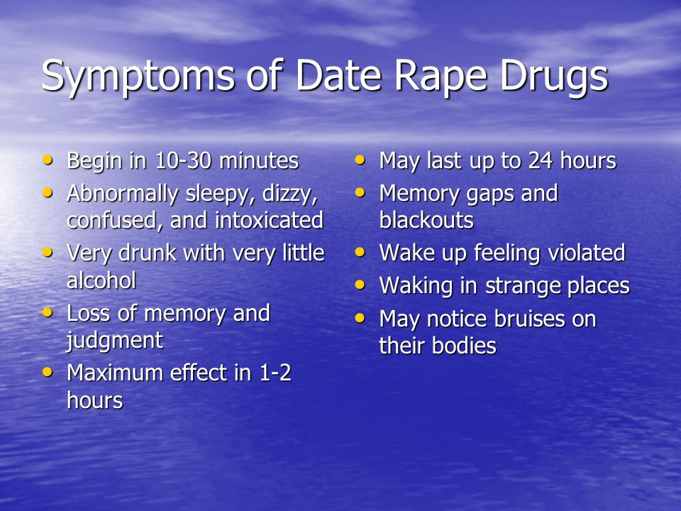 Symptoms of Date Rape Drugs