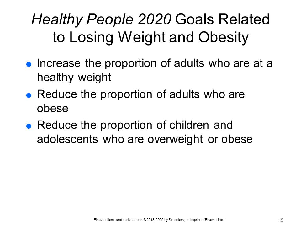 Healthy People 2020 Goals Related to Losing Weight and Obesity