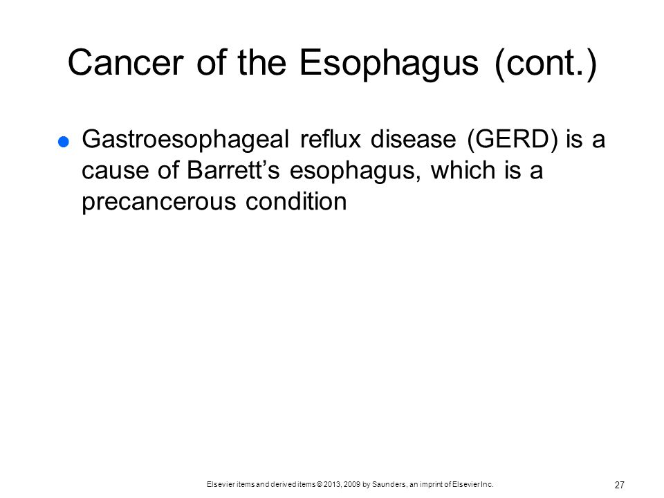 Cancer of the Esophagus (cont.)