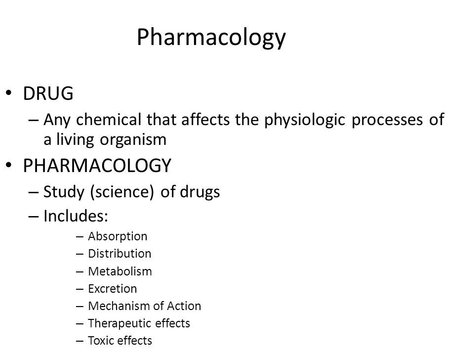 Pharmacology DRUG PHARMACOLOGY