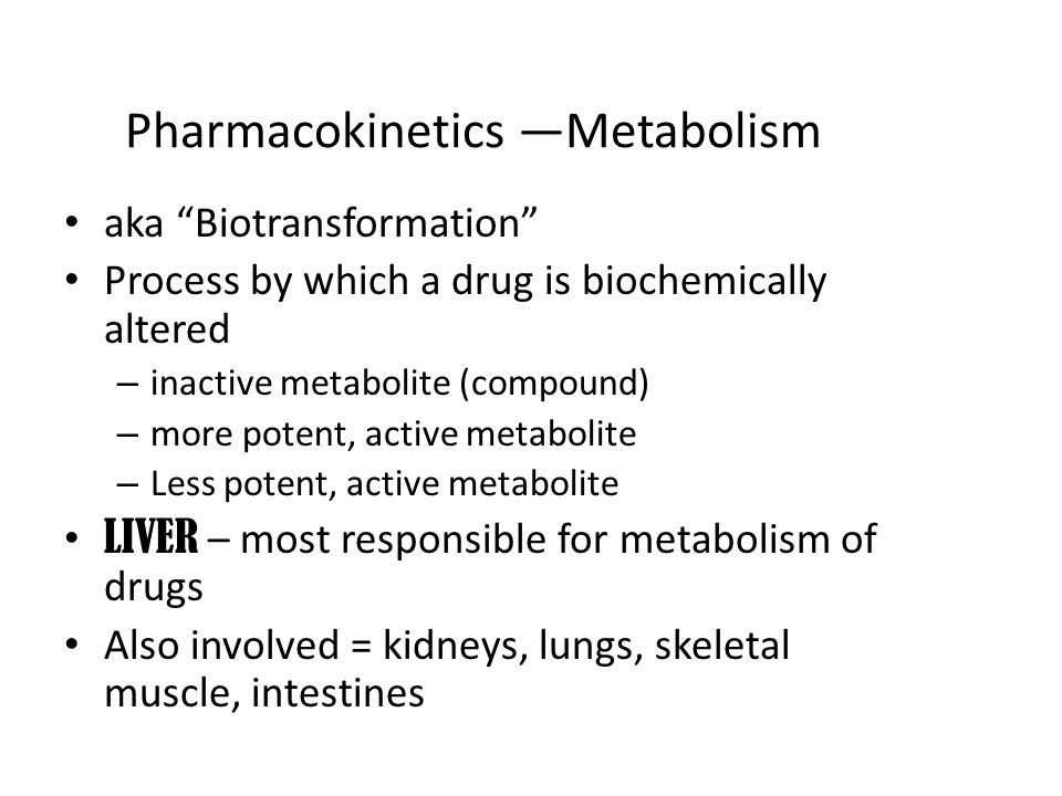 Pharmacokinetics —Metabolism