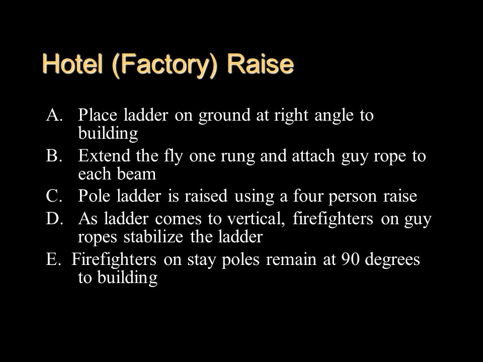 Hotel (Factory) Raise Place ladder on ground at right angle to building. Extend the fly one rung and attach guy rope to each beam.