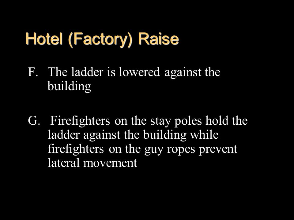 Hotel (Factory) Raise The ladder is lowered against the building