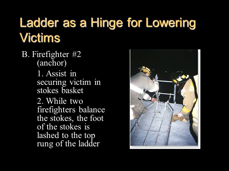 Ladder as a Hinge for Lowering Victims
