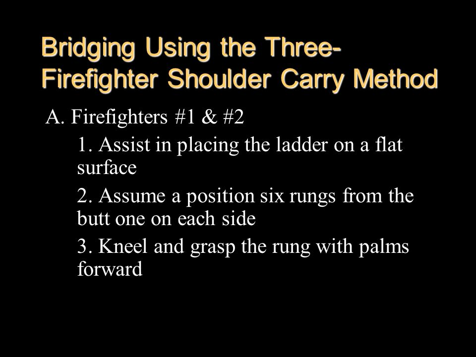 Bridging Using the Three-Firefighter Shoulder Carry Method