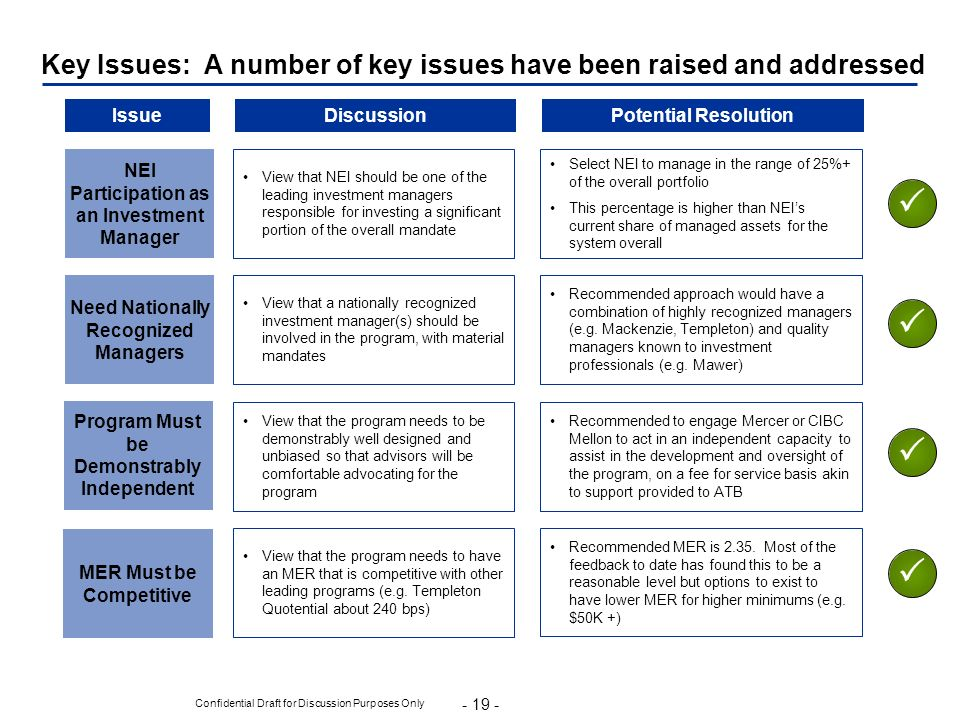 Key Issues: A number of key issues have been raised and addressed