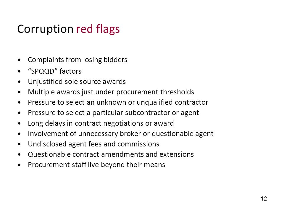 Corruption red flags Complaints from losing bidders SPQQD factors