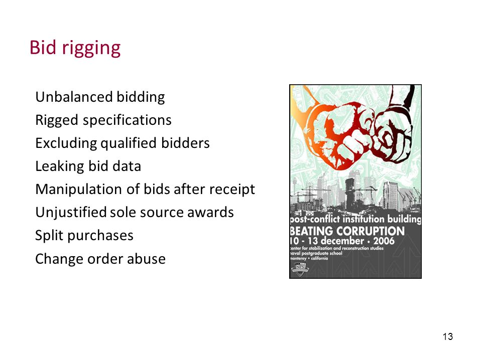 Bid rigging Unbalanced bidding Rigged specifications