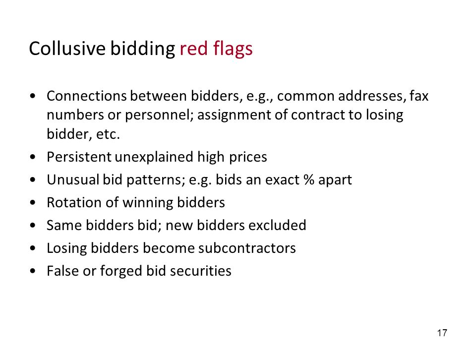 Collusive bidding red flags