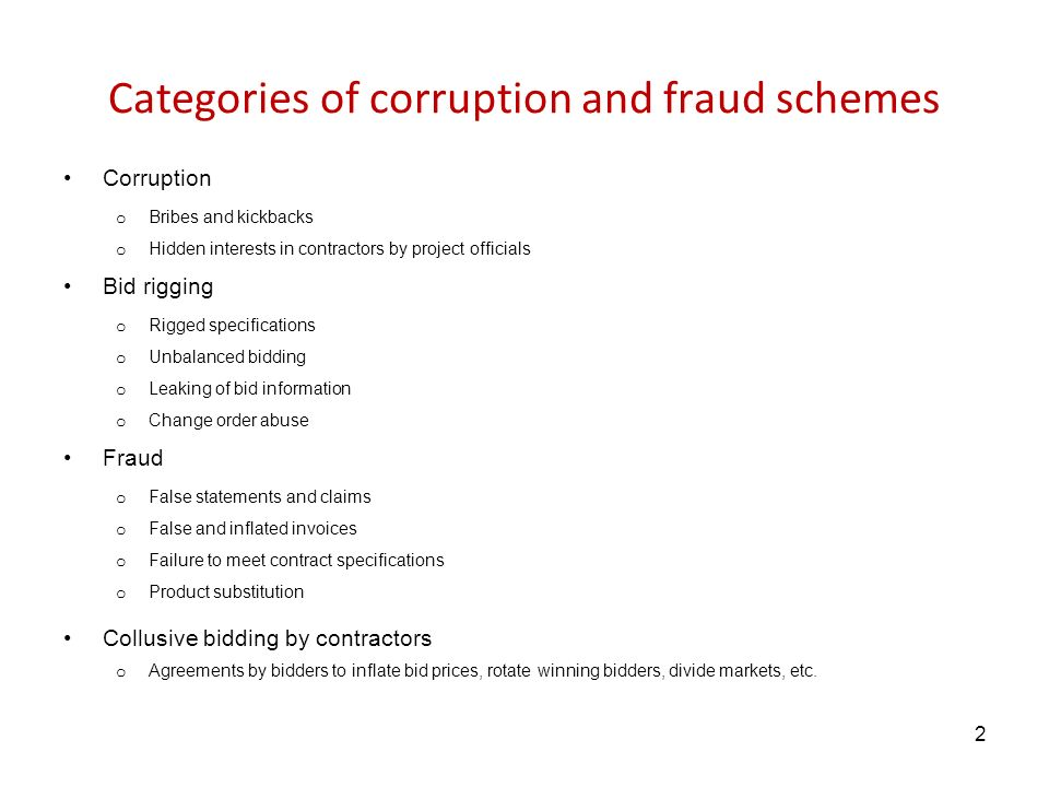 Categories of corruption and fraud schemes