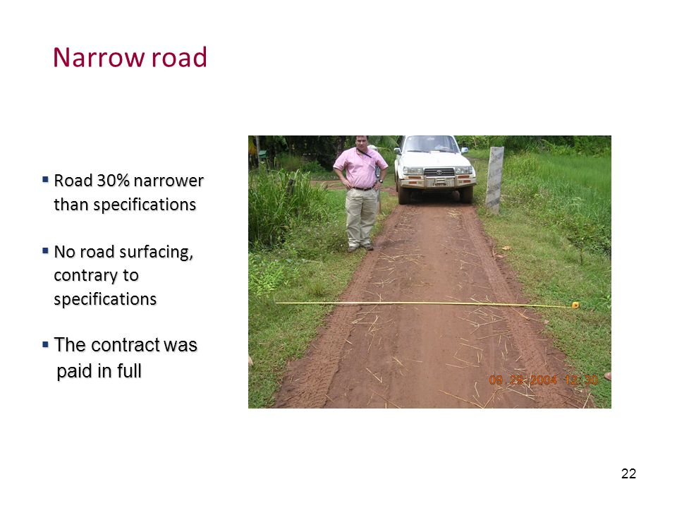Narrow road Road 30% narrower than specifications