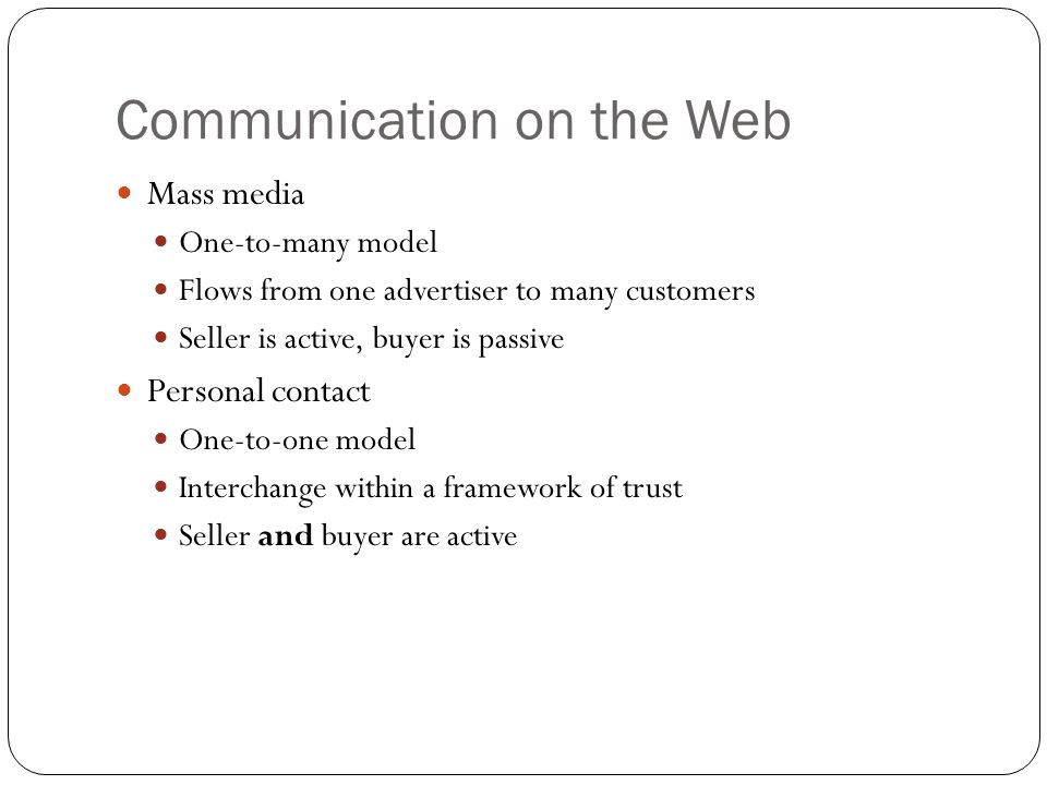 Communication on the Web