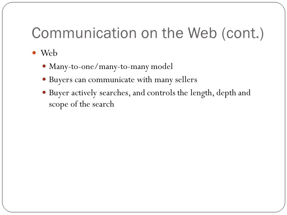 Communication on the Web (cont.)