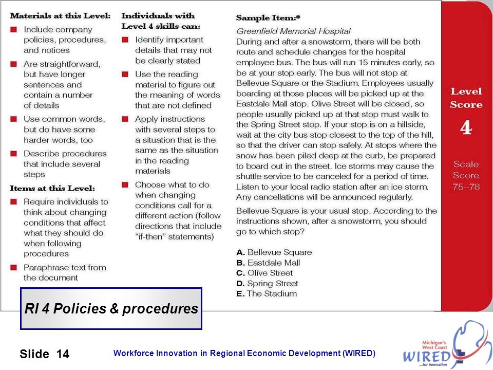 RI 4 Policies & procedures
