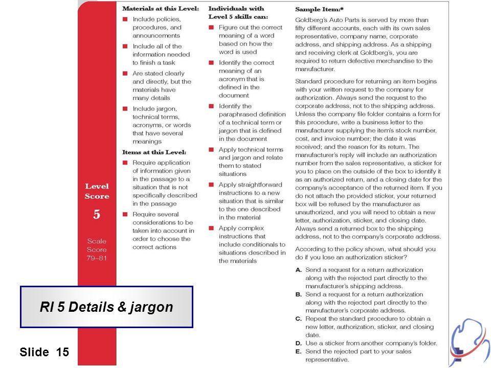RI 5 Details & jargon