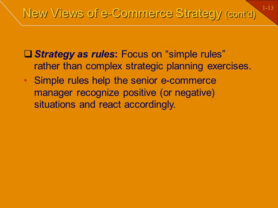 New Views of e-Commerce Strategy (cont'd)