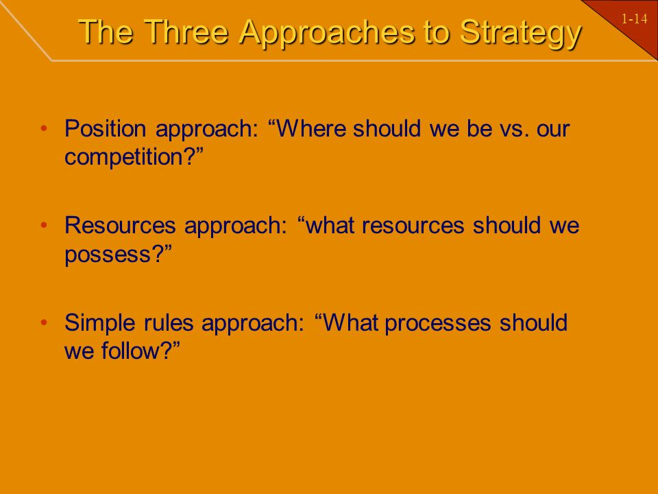 The Three Approaches to Strategy
