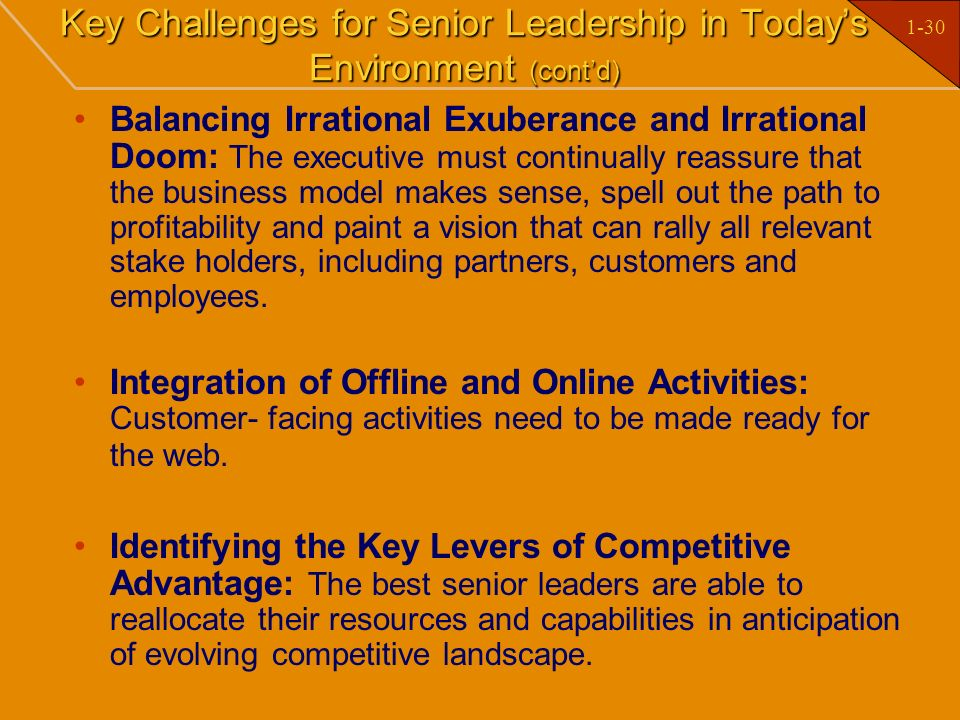 Key Challenges for Senior Leadership in Today's Environment (cont'd)